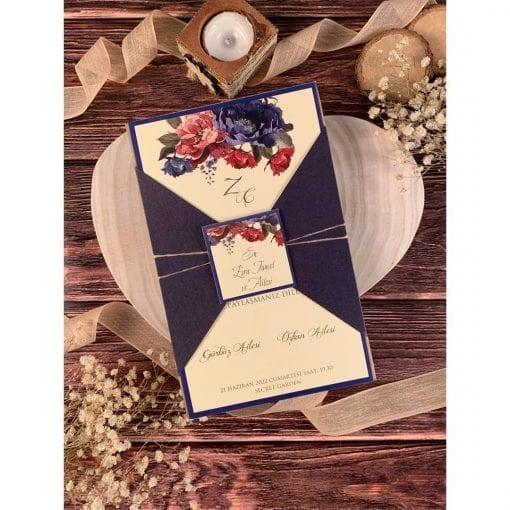 Faire Part Mariage Floral Pochette Indigo