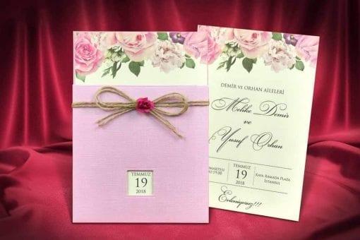 Faire Part Mariage Floral Rose Papier Effet Toile