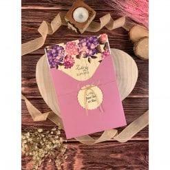 Faire Part Mariage Floral Violet Effet Bois