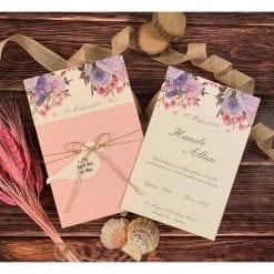 Faire Part Mariage Floral Violet Pochette Rose