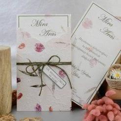 Faire Part Mariage Feuilles Et Pochette En Relief