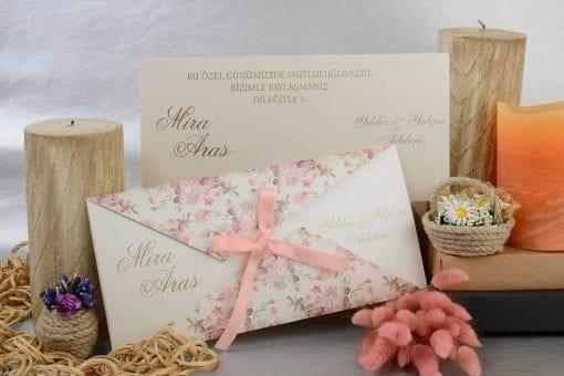Faire Part Mariage Fleur Rose Fermeture Sur Noeud