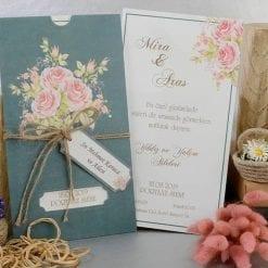 Faire Part Mariage Fleur Rose Vert Impériale