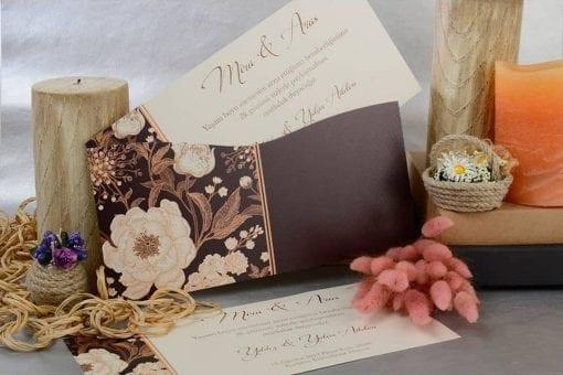 Faire Part Mariage Fleurs Dorés Pochette Chocolat