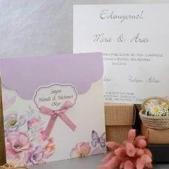 Faire Part Mariage Fleurs Violettes Sur Noeud