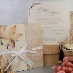 Faire Part Mariage Floral Finition Dorée Pochettes 2 Volets