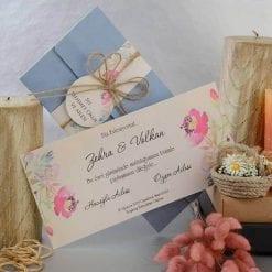 Faire Part Mariage Floral Pochette Bleu