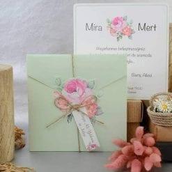 Faire Part Mariage Floral Pochette Verte Pastel