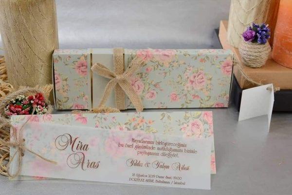 Faire Part Mariage Floral Rose Translucide
