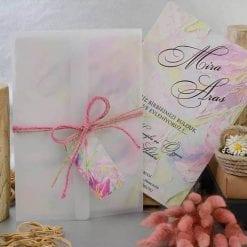 Faire Part Mariage Floral Violet Pochette Translucide