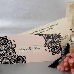 Faire Part Mariage Rose Dentelle Noir