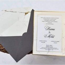 Faire Part Mariage Effet Marbre Finition Dorée Enveloppe Anthracite