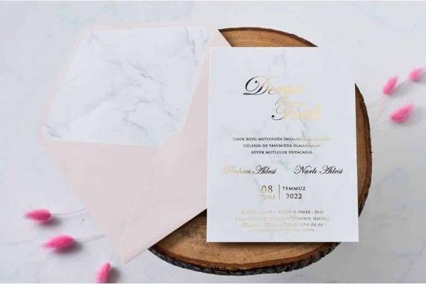 Faire Part Mariage Effet Marbre Pochette Rose