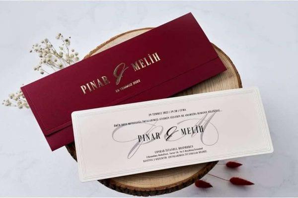 Faire Part Mariage En Relief Pochette Bordeaux