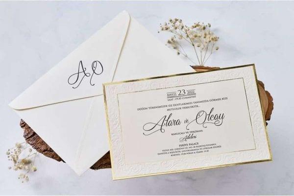 Faire Part Mariage Finition Dorée Avec Enveloppe