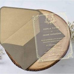 Faire Part Mariage Impression Dorée Sur PVC Transparent