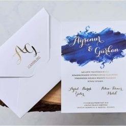 Faire Part Mariage Peinture Bleu Ecriture Dorée