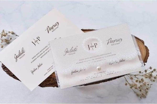 Faire Part Mariage Pochette Transparente Effet Dentelle
