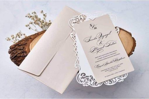 Faire Part Mariage Taupe/Beige Avec Enveloppe