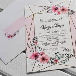 Faire Part Mariage Fleur Finition Linéaire Dorée