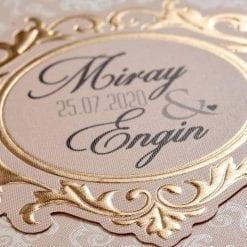 Faire Part Mariage Taupe Arc Doré