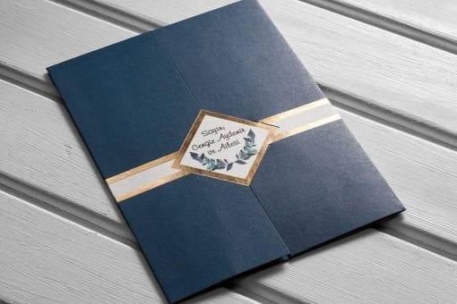 Faire Part Mariage Bleu Mariage 3 Volets