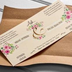 Faire Part Mariage Bouquet Floral Pochette Camel