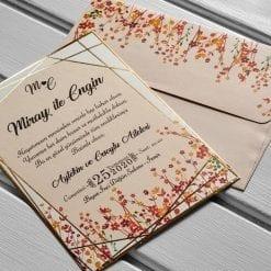 Faire Part Mariage Champs de Fleurs Finition Dorée