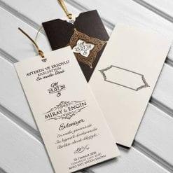 Faire Part Mariage Chocolat Finition Dorée