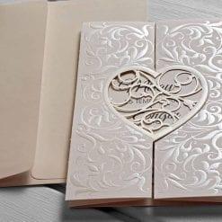 Faire Part Mariage Coeur Blanc Nacré Avec Enveloppe