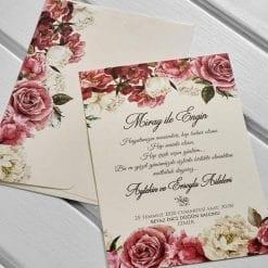 Faire Part Mariage Fleur Rose Et Blanche Avec Enveloppe