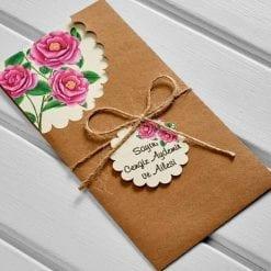 Faire Part Mariage Fleur Rose Pochette Camel