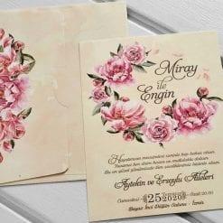Faire Part Mariage Fleurs Roses Fond Pêche