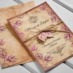 Faire Part Mariage Fleurs Violet Kraft Brun