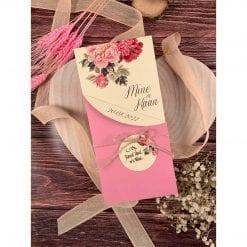Faire Part Mariage Floral Rose Avec Ficelle