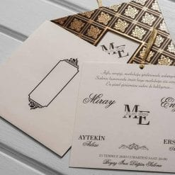 Faire Part Mariage Marron Royal Finition Dorée