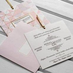 Faire Part Mariage Mosaïque Rose Finition Dorée