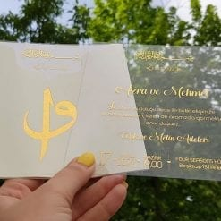 Faire Part Mariage Oriental Transparent Finition dorée