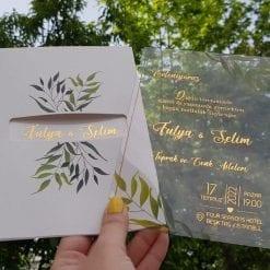 Faire Part Mariage Transparent Feuillage Finition Dorée