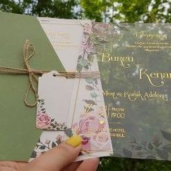 Faire Part Mariage Transparent Fleur Rose Finition Dorée