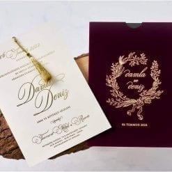 Faire Part Mariage Velours Ecriture Dorée Brillant