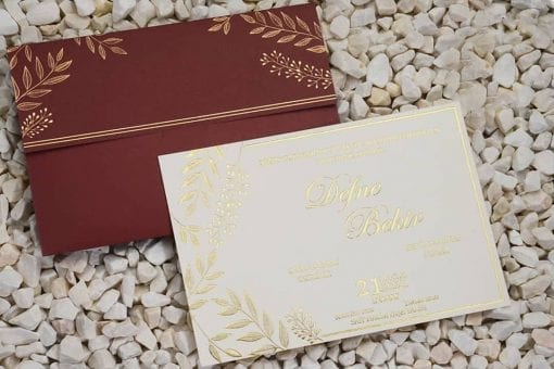 Faire Part Mariage Enveloppe Rouge Feuille De Laurier Finition Dorée