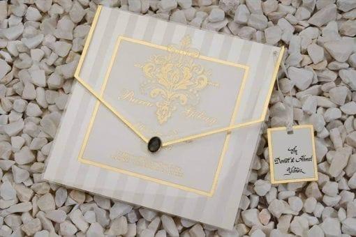 Faire Part Mariage Enveloppe Transparente Finition Dorée