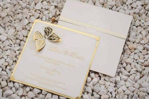 Faire Part Mariage Papillon Doré Avec Enveloppe
