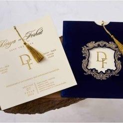 Faire Part Mariage Pochette Bleu Effet Velours