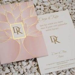 Faire Part Mariage Rose Dragée Finition Dorée
