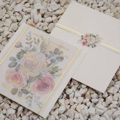 Faire Part Mariage Transparent Fond Floral Finition Dorée