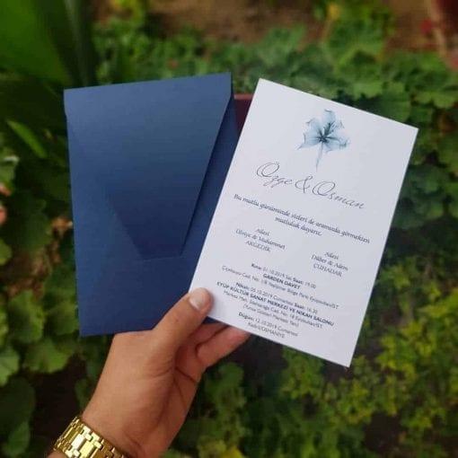 Faire Part Mariage Bleu Cobalt Avec Enveloppe