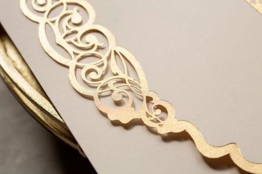 Faire Part Mariage Arabesque Dorée Avec Enveloppe