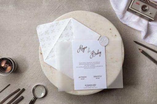 Faire Part Mariage Calque Blanc 3 volets